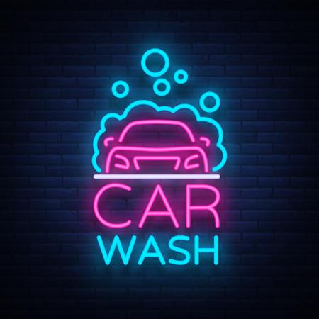 Projekt wektor logo myjni w neonowym stylu ilustracji wektorowych na białym tle. Szablon, koncepcja, świecąca ikona szyldu na temat myjni samochodowej. Świetlisty baner.