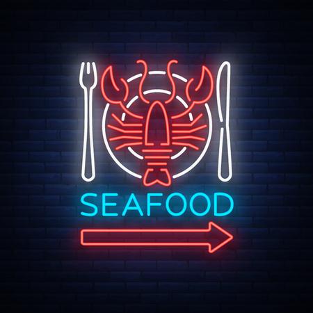 Ilustración de vector de icono de neón de mariscos emblema Foto de archivo - 88488998