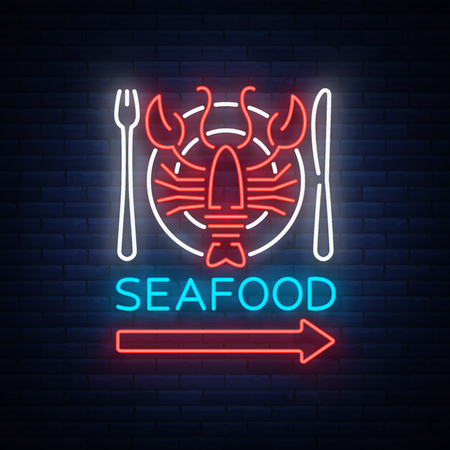 Seafood neon emblem icon vector illustration