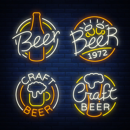 Set of beer logo, neon signs, logos of emblem in neon style, vector illustration. For the beer house bar pub, brewery. Night beer advertising, neon glowing bright sign.