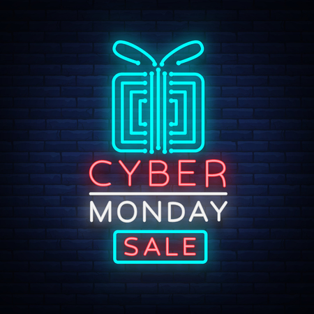 Cyber Monday concept banner in fashionable neon style, luminous signboard, nightly advertising advertisement of sales rebates of cyber Monday. Vector illustration for your projects. Illustration