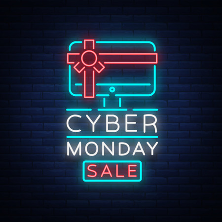 Cyber Monday vector banner in fashionable neon style, luminous signboard, nightly advertising advertisement of sales rebates of cyber Monday. Stock fotó - 88680734