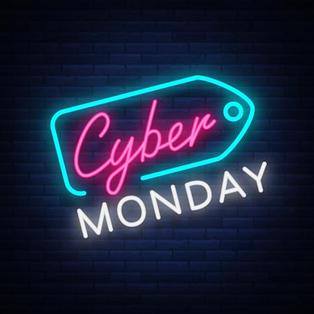 Cyber Monday-conceptenbanner in modieuze neonstijl, lichtgevend uithangbord, nightly adverterende reclame van verkoopkorting van cybermaandag. Vector illustratie voor uw projecten.