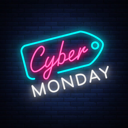 Cyber Monday concept banner in fashionable neon style, luminous signboard, nightly advertising advertisement of sales rebates of cyber Monday. Vector illustration for your projects. Vettoriali