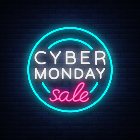 Cyber Monday, discount sale concept illustration in neon style, online shopping and marketing concept, vector illustration. Neon luminous signboard, bright banner, luminous advertisement. Ilustração
