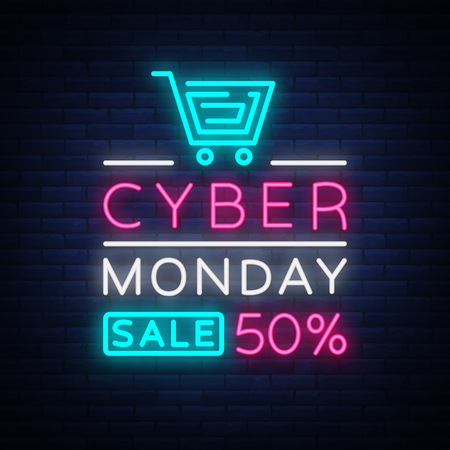 Cyber Monday, discount sale concept illustration in neon style, online shopping and marketing concept, vector illustration. Neon luminous signboard, bright banner, luminous advertisement. Ilustrace