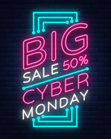 Insegna di vettore di Cyber ??Monday nello stile al neon alla moda, insegna luminosa, pubblicità pubblicitaria di notte di sconti di vendita di lunedì cyber.