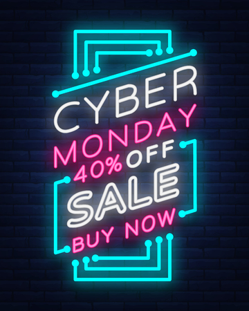 Cyber Monday, discount sale concept illustration in neon style, online shopping and marketing concept, vector illustration. Neon luminous signboard, bright banner, luminous advertisement. Иллюстрация