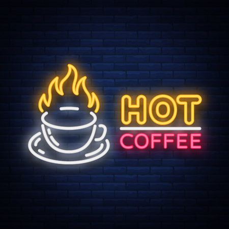 Coffee neon signboard, icon , glowing emblem, vector illustration for your business. A bright signboard advertising coffee, hot drinks.