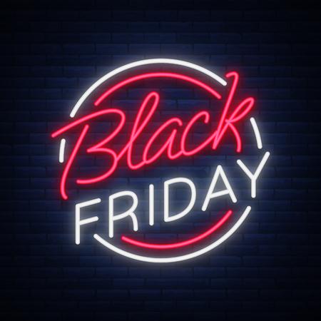 Czarny piątek wektor na białym tle, transparent plakat w stylu neonowym. Wyprzedaż jasnych znaków Rabaty w Czarny piątek