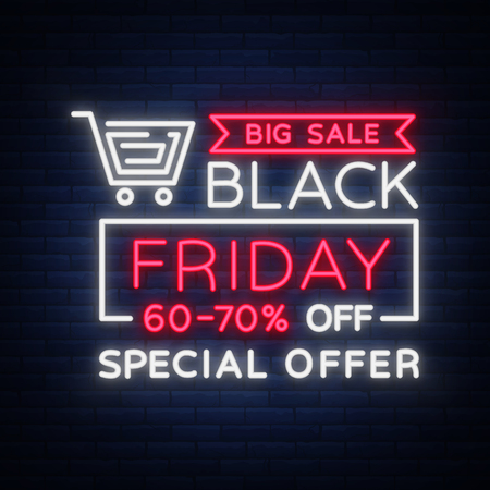 Black Friday-geïsoleerde vector, affichebanner in neonstijl. Bright sign sales Black Friday-kortingen