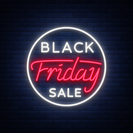 Black Friday sale neon sign, neon banner, background brochure. Glowing neon sign, bright glowing advertising, sales discounts Black Friday. Vector illustration