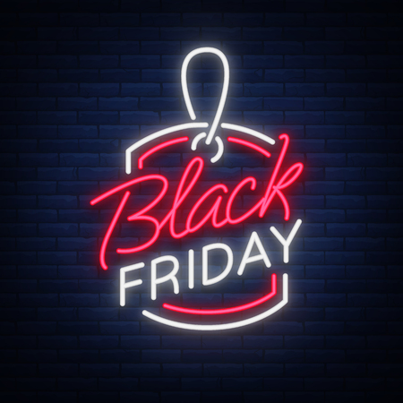 Black Friday-neonreclame, kortingen, verkoop, teken van de neon het heldere banner. Gloeiend teken voor uw projecten