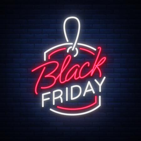 Black Friday Neonwerbung, Rabatte, Verkäufe, helle Neonfahnenzeichen. Leuchtendes Zeichen für Ihre Projekte
