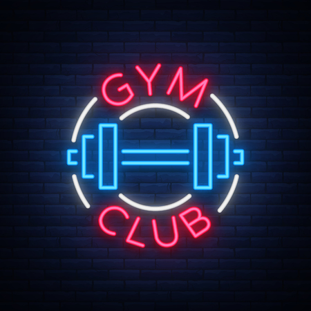 Logotype gym sign in neon style isolated vector illustration. A glowing sign, a nightly bright neon advertisement of the gym, fitness club, sports club and for your other projects