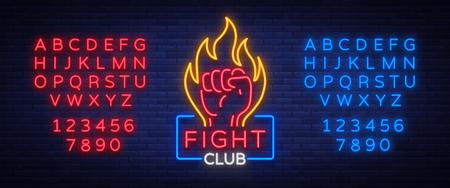 Vecht club logo neon teken geïsoleerde vectorillustratie. Neonbanner, reclame voor nacht gloeiend embleem.