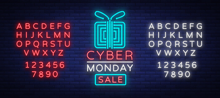 Cyber Monday concept banner in fashionable neon style, luminous signboard, nightly advertising advertisement of sales rebates of cyber Monday. Vector illustration. Editing text neon sign