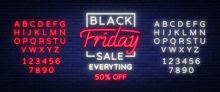 Black Friday-het teken van het verkoopneon, neonbanner, achtergrondbrochure. Gloeiend neonteken, heldere gloeiende reclame, verkoopkortingen Black Friday. Vector illustratie. Tekst neonreclame bewerken Stockfoto - 88984878