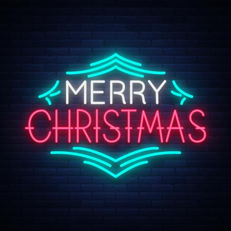 메리 크리스마스 텍스트, 서식 파일 디자인 편지 서식 파일, 네온 스타일로 표지. 밝은 빛나는 배너, 네온 사인, 밤 크리스마스 축 하합니다. 벡터 일러