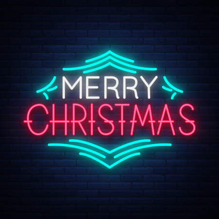 Merry Christmas text, template design letter template, cover in a neon style. Bright glowing banner, neon sign, night congratulation with Christmas. Vector illustration
