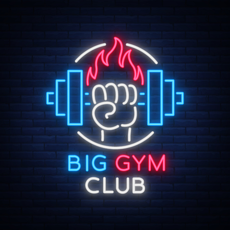 Fitness, gym logo sign in neon style isolated, vector illustration. A glowing banner, a bright neon sign, a night advertisement of a fitness club, a sports hall, a sports club. Illustration
