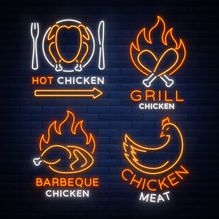 Set logo, signs, banners chicken in neon style for a grocery store and restaurants. Neon sign, night bright advertisement. Barbecue chicken, grilled chicken. Vector illustration. Vectores