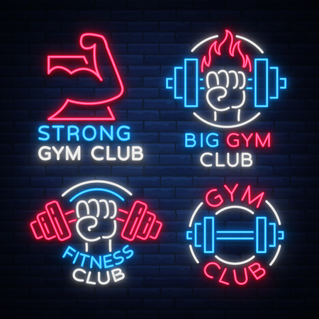 Set of logo signs on fitness theme, bodybuilding in neon style isolated, vector illustration. Glowing banner, a bright neon sign, a night advertisement of a fitness club, a sports hall, a sports club.