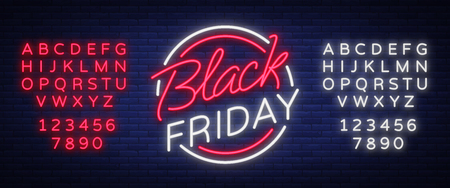 Black Friday vector isolated, poster banner in neon style. Bright sign sales Black Friday discounts. Editing text neon sign.