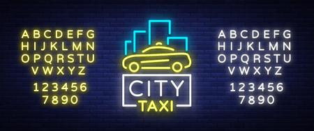 Ciudad taxi plantilla de concepto de logotipos de neón. Letrero luminoso sobre el tema del transporte de pasajeros. Letreros de neón, banner de noche luz. Foto de archivo - 89262936