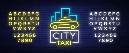 City taxi neon logos concept template. Luminous signboard on the theme of transportation of passengers. Neon signs, light night banner. Illustration