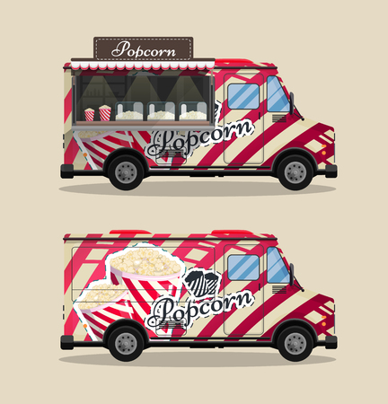 Popcorn cart, kiosk on wheels, retailers, sweets and confectionery products, and flat style isolated vector illustration. Snacks for your projects. Illustration