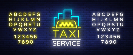 Vector Neon Taxi logo isolated on a brick background. Silhouette badge glowing taxi.