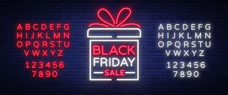 Black Friday vector isolated, poster banner in neon style. Bright sign sales Black Friday discounts. Editing text neon sign. Neon alphabet Illustration