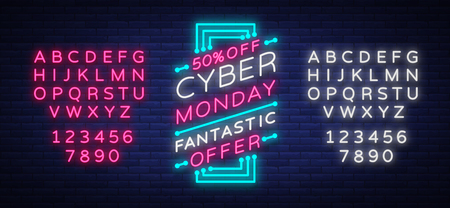 Cyber Monday concept banner in fashionable neon style, luminous signboard, advertisement of sales rebates of cyber Monday. Stock Illustratie