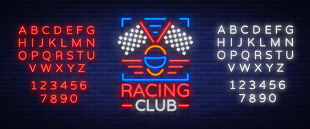 Racing Club neon logo logo. A glowing sign on the theme of the races. Illustration