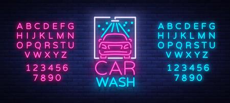ネオンスタイルのベクターイラストでカーウォッシュのロゴデザインのエンブレム。テンプレート、コンセプト、光サインは、車を洗うことをテー