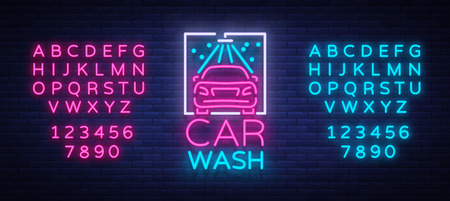 Car wash logo design emblem in neon style vector illustration. Template, concept, luminous sign on the theme of washing cars. Editing text neon sign. Neon alphabet