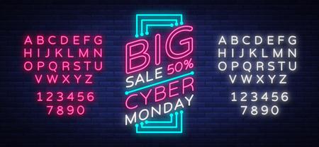Bannière de vecteur Cyber Monday dans le style à la mode de néon, enseigne lumineuse, publicité publicitaire nocturne des rabais de vente de cyber lundi Modification du texte au néon. Alphabet néon Vecteurs