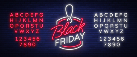 Black Friday neon advertising, discounts, sales, neon bright banner sign. Glowing sign for your projects. Editing text neon sign. Neon alphabet
