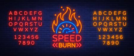 Velocidad quemadura logo emblema plantilla vector logo en estilo neón. Un cartel brillante sobre el tema de las carreras. Letrero de neón, banner de luz. Edición de texto de neón. Alfabeto de neón Foto de archivo - 89556460
