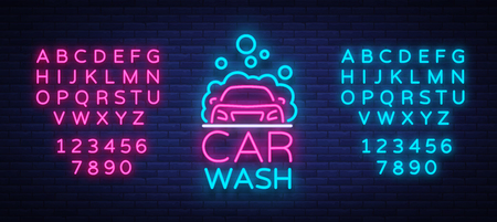 Car wash logo vector design in neon style vector illustration isolated. Template, concept, luminous signboard icon on a car wash theme. Luminous banner. Editing text neon sign. Neon alphabet Ilustrace