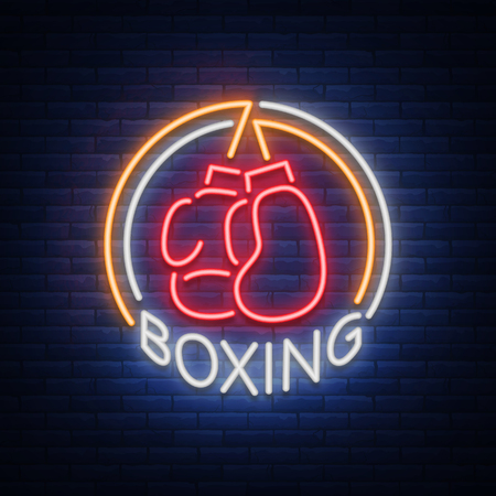 Boxing logo, neon sign emblem is isolated. Vector illustration on sport. The sign is lit, the bright night banner, the neon advertising of the sports boxing club Çizim
