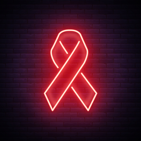 World AIDS Day, Red ribbon for HIV infection from HIV. Vector illustration in a neon style. Neon sign, a symbol for your projects.
