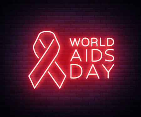 World AIDS Day, December 1, Red tape for HIV infection with text. Vector illustration in a neon style. Neon sign, a symbol for your projects Illustration