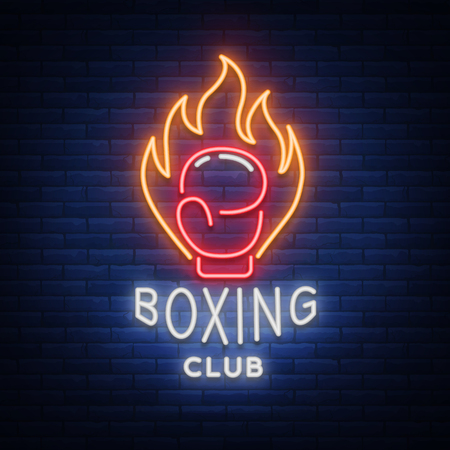 Boxing club logo in neon style, vector illustration. Emblem, neon sign, symbol for a sports facility on the topic of boxing. Neon banner, bright nightlife advertisement