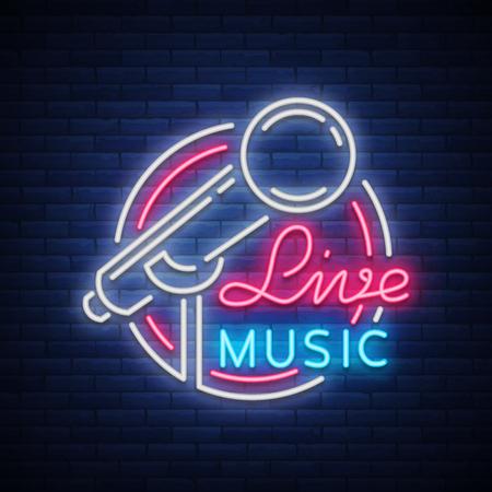 ライブミュージカルベクトルネオンロゴ、記号、エンブレム、マイク付きシンボルポスター。明るいバナーポスター、ネオン明るい看板、ナイトラ