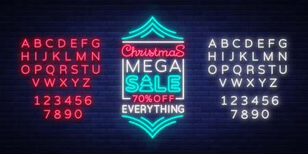 Christmas sale template design in neon style neon sign banner. Cover, flyer, illuminated advertising sign on the night discounts for your projects.