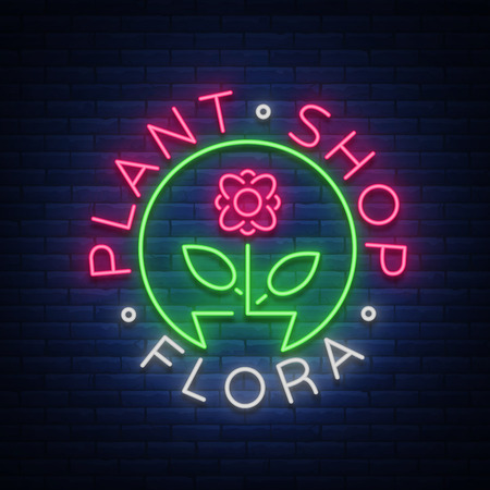 Flower shop, Plants, Florist, Flora emblem, sign, neon logo. Template design element for business, vivid advertising related to flower delivery, gardening florist.
