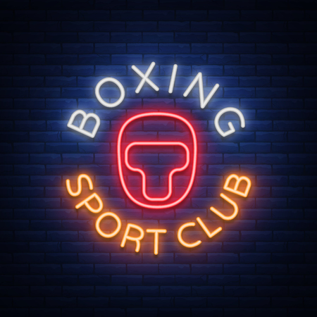 Boxing sports club logo sign in neon style, vector illustration. Emblem, a symbol for a sports facility on a boxing theme. Neon banner, bright nightlife advertisement.