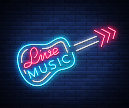 Live music neon sign vector icon Çizim